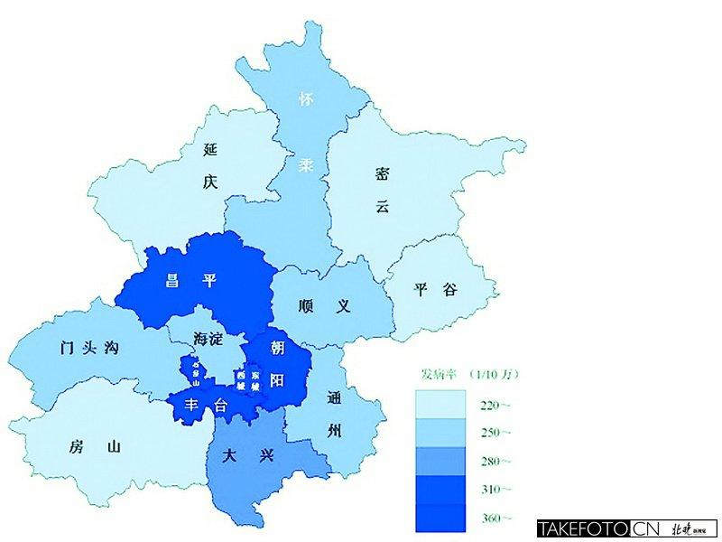 北京癌症地图发布 丰台发病率最高