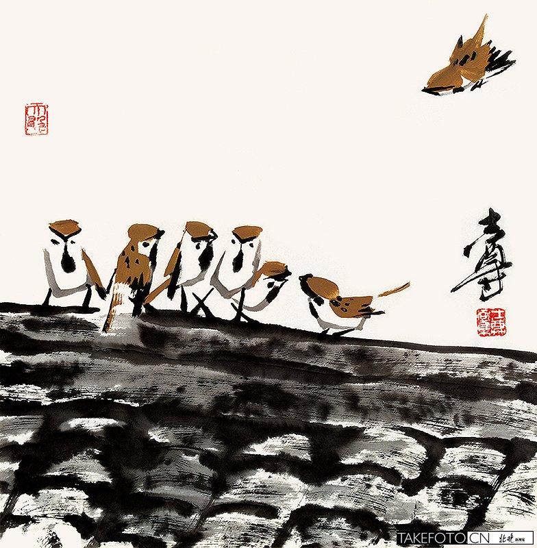 徐湛国画花鸟作品_麻雀( 国画 )图片